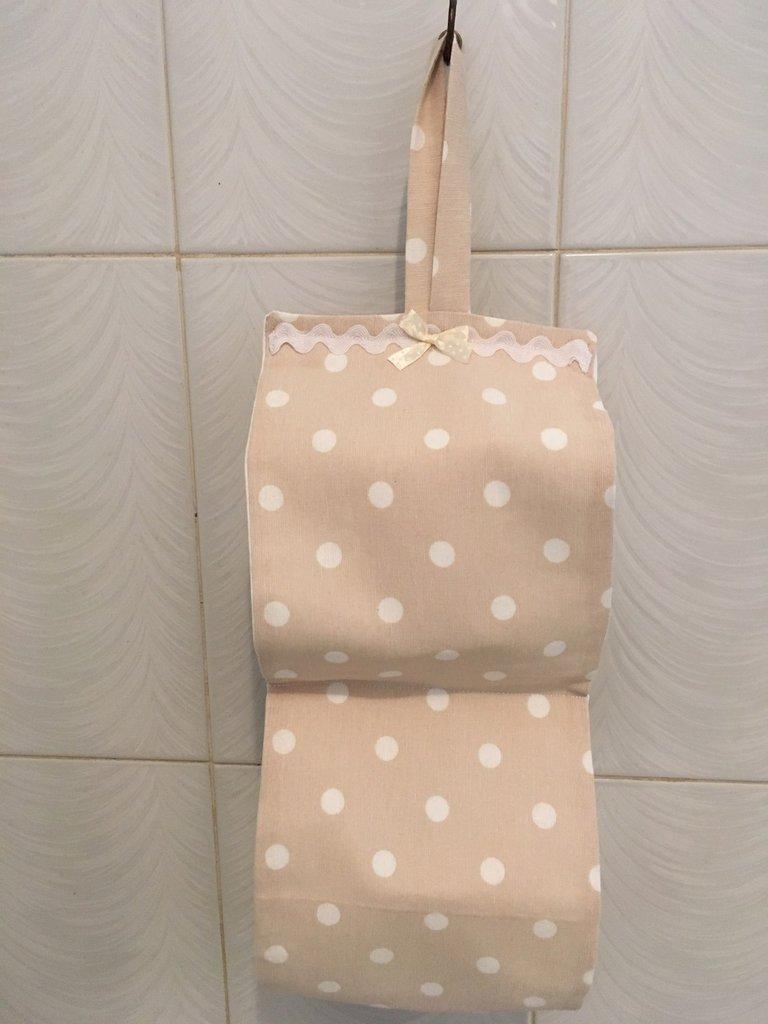 Porta rotoli carta igienica Pois beige