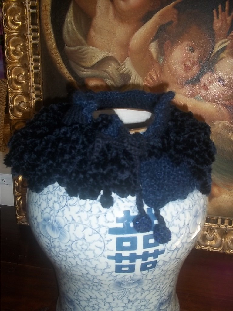 Collo blu notte pelliccia di lana