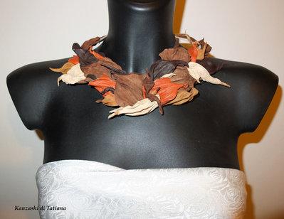 Collana di vera pelle di colori autunnale 2