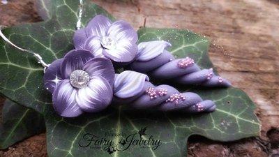 Orecchini unicorno elfo fata viola fiore astratto monachelle argento 925