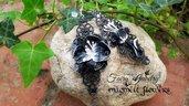 Orecchini pendenti fiori astratto nero bianco gioielli fatto a mano filigrana anallergici