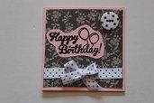 Biglietto Auguri Compleanno - Bottone a Pois