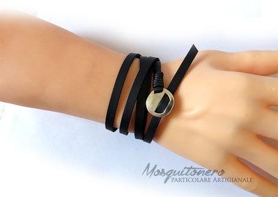Bracciale da uomo o donna in pelle sintetica colore NERO a 5 giri stile wrap bracelet