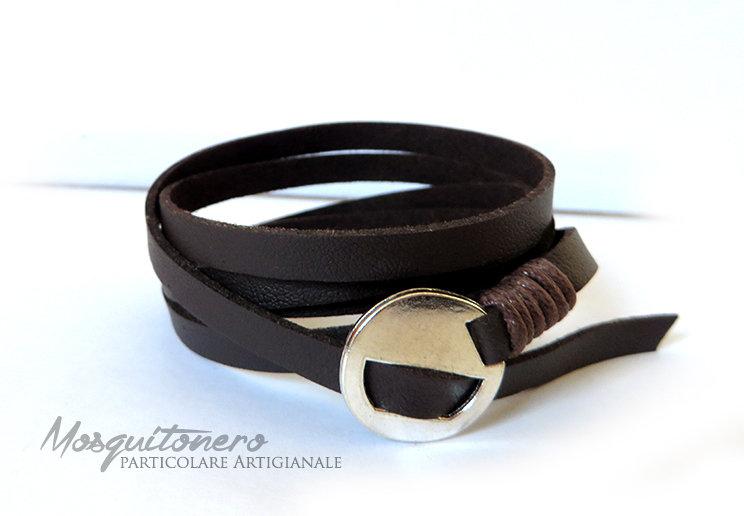Bracciale da uomo o donna in pelle sintetica colore MARRONE a 5 giri stile wrap bracelet
