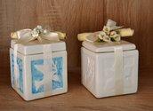 Scatolina porta confetti in ceramica con bassorilievi. Ricordo comunione e cresima. Realizzata a mano. Dim. 7,5x7,5 x h.10 cm. ca.
