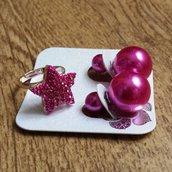 Anello regolabile stella strass + orecchini doppia perla FUCSIA