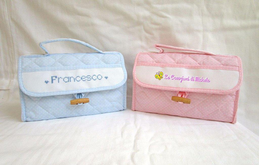 """Beauty case """"rosa"""" pois bianchi e orsetti+nome punto croce"""