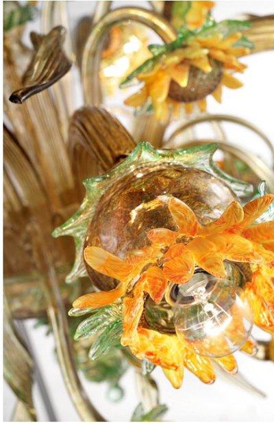 Fiore girasole, ricambio per lampadari in vetro soffiato di Murano