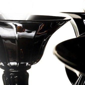 Tazza, ricambio per lampadari, in vetro soffiato di Murano, colore nero