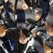 Goccia, ricambio per lampadari, in vetro soffiato di Murano, color ambra