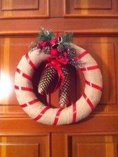 Ghirlanda artigianale natalizia art. 2576 - Diametro esterno cm 36