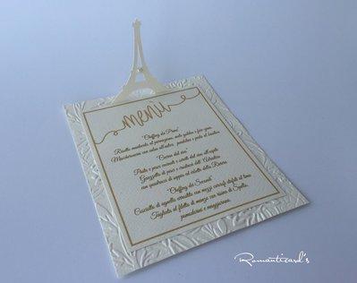 Menù per Matrimonio a tema Torre Eiffel by Romanticards