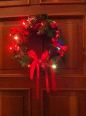 Ghirlanda natalizia nature lavorazione artigianale con luci a led 2617