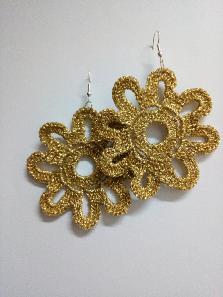 Orecchini Fiori di Lurex Oro
