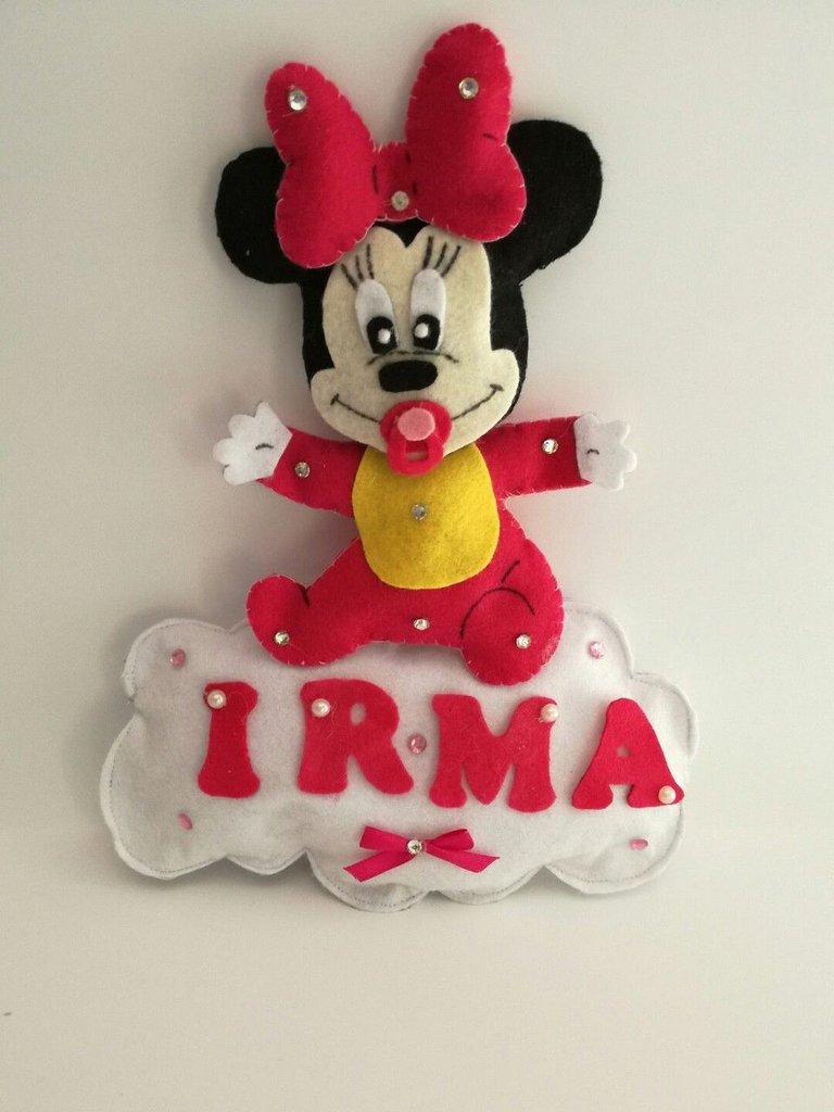 Fiocco nascita coccarda pannolenci feltro Minnie nome personalizzabile nuvola