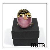 Stupendo anello grande in vetro di Murano, alla moda, comodissimo