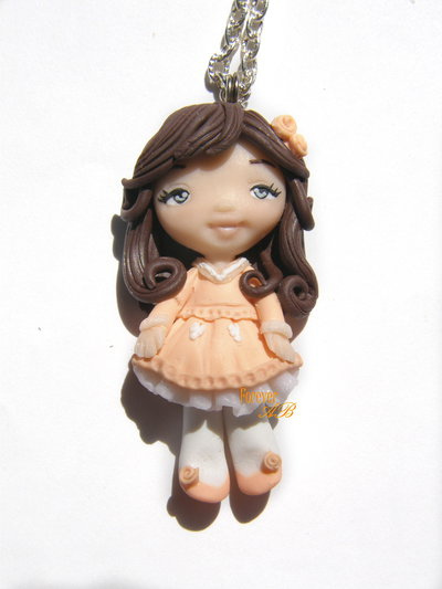 Collana bambolina primavera doll fimo necklace idea regalo clay