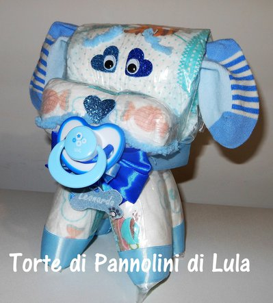 Torta di pannolini Pampers Cagnolino!! Animale cane Idea regalo utile originale per nascita battesimo o compleanno