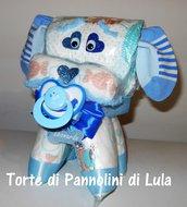 Torta di pannolini Pampers Cagnolino cucciolo animale cane Idea regalo utile originale per nascita battesimo o compleanno