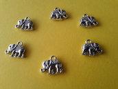 6 charms ciondoli 'Elefanti indiani portafortuna' argento tibetano,