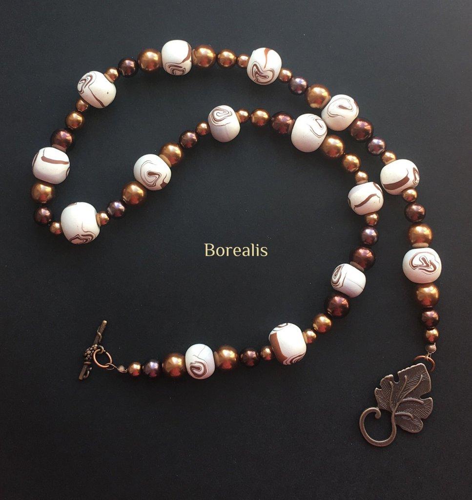Collana Batida Di Cocco Argilla Polimerica Perle di Boemia