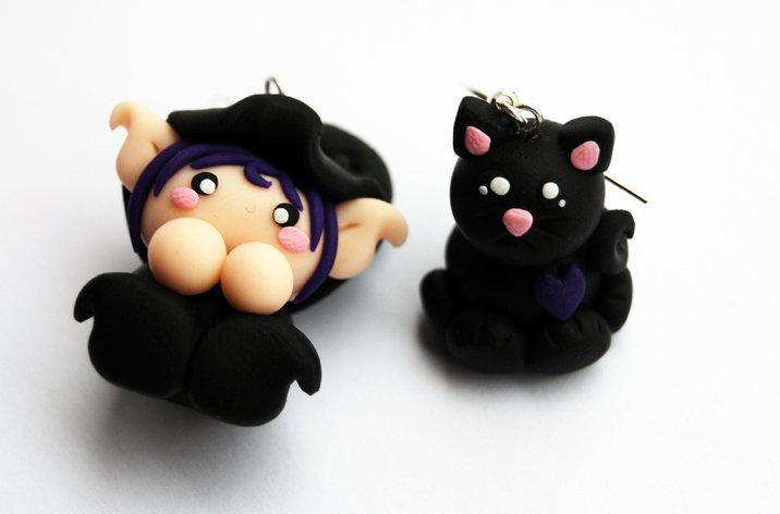Orecchini Malfolletto e Gatto