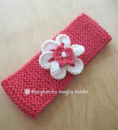 Fascia/fascetta neonata/bambina corallo/fiore bianco - cotone - baby shower/battesimo/cerimonia
