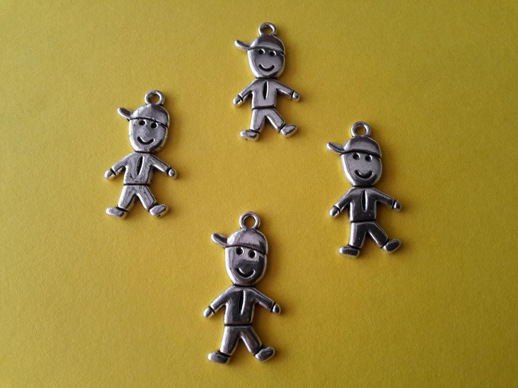 4 charms ciondoli 'Bambini con berretto' argento tibetano