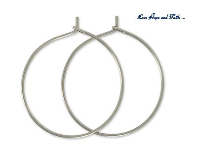 LOTTO 1 paia di orecchini/cerchi color argento in acciaio inox (25mm) (cod.20 Inox)
