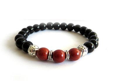 Bracciale UOMO perle pietre stone bracelet NERO Mattone argento sfere palline