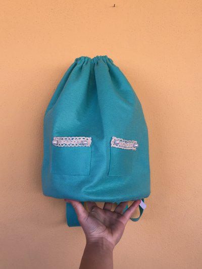 zaino zainetto hand made  sacca panno pannolenci pizzo