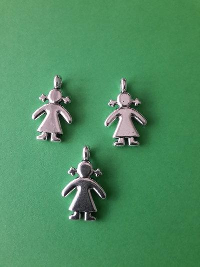 3 charms ciondoli 'Bambina con le codine' argento tibetano