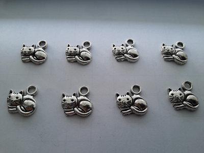 8 charms ciondoli 'Micetto' argento tibetano,