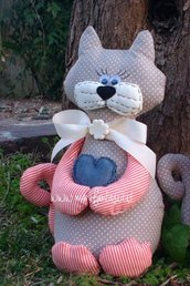 pupazzo di stoffa gatto fermaporta