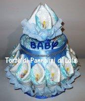 Torta di Pannolini grande mazzo fiori bouquet Pampers nome nascita battesimo