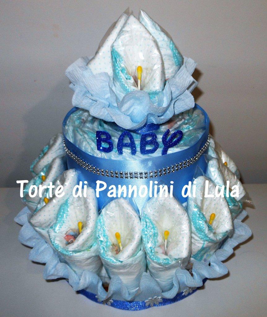 Torta Di Pannolini Grande Mazzo Fiori Bouquet Pampers Nome