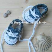 scarpine tennis jeans bambino in puro cotone fatte a mano all'uncinetto
