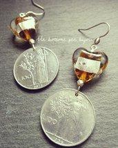 Orecchini con monete vintage italiane, fuori corso,100 lire