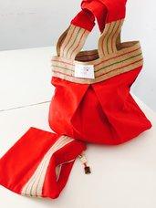 Completo borsa in tela più trousse coordinata