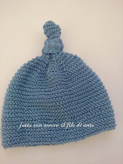 Cappello neonato in cotone blu