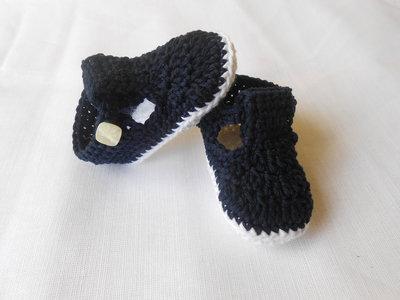 Sandali da bambino fatti a mano in cotone bianco blu, idea regalo.