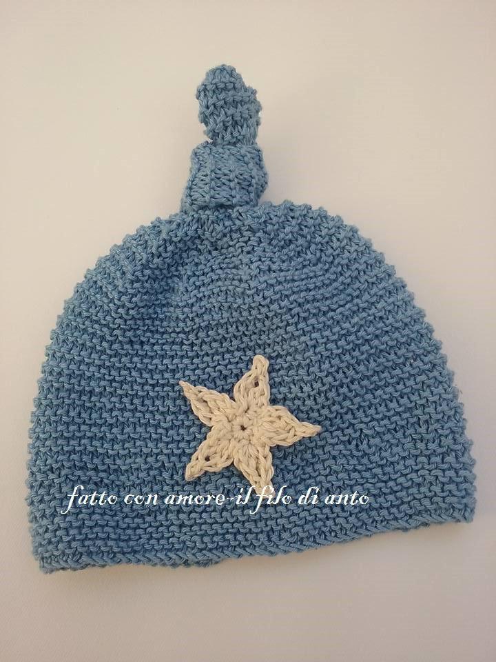 Cappello blu denim con stella bianco panna fatto a mano