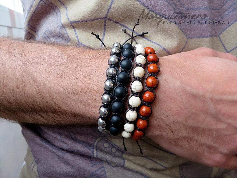 Bracciale stile tamashii con perle in Agata,Ematite ,Turchesite e pietra dura nodi macrame, tibet ,mala, regalo per lui,etnico