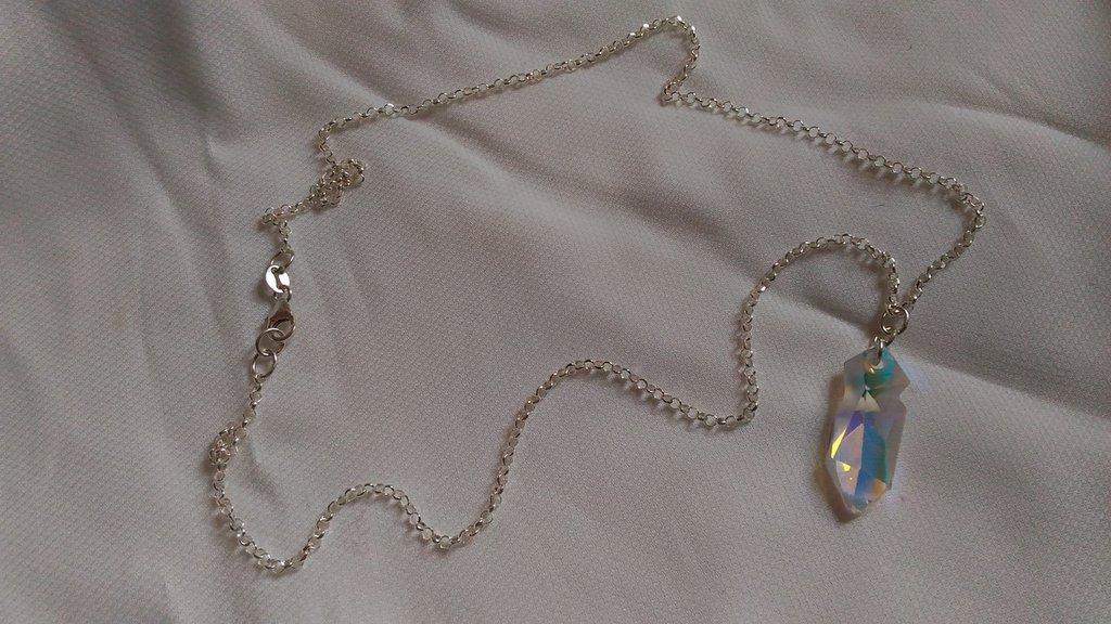 Catenina in argento 925 con pendente swarovski crystal ab