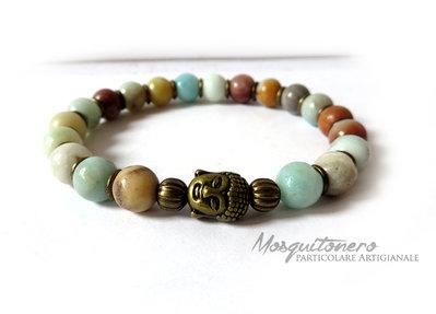 Bracciale Buddha testa in bronzo e perle in amazonite pietra stone da uomo elastico