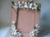 Cornice portafotografie decorazione fiori di gardenia in 3d