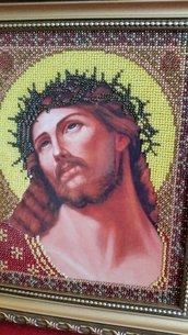 """Quadro icona  """"Gesù"""" ricamato con perline"""