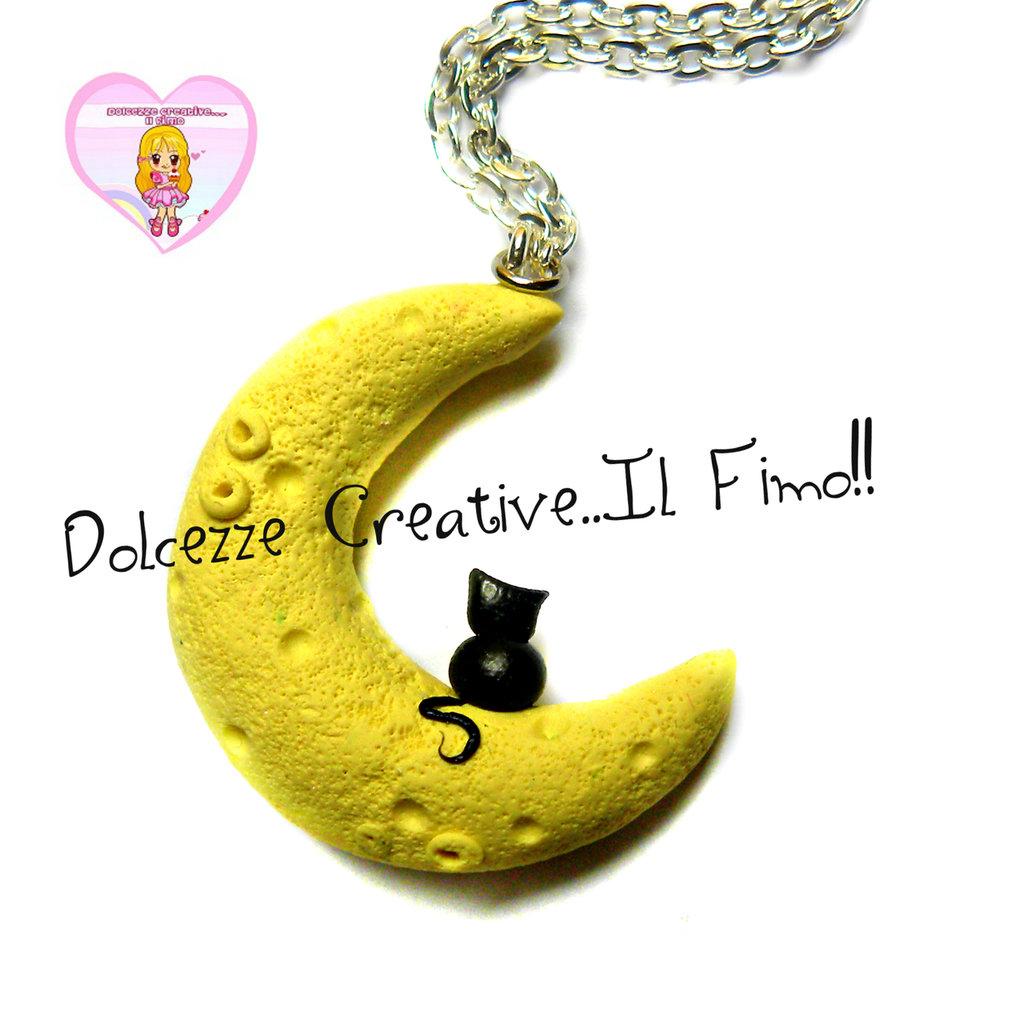 Collana Gatto sulla luna - Cat lover - Idea regalo Gattara - kawaii miniature