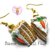 Orecchini Fette di torta di carota con glassa - American Carrot Cake - miniature
