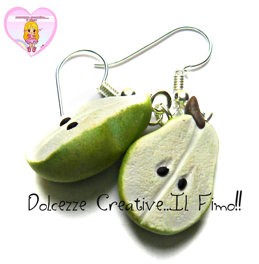 Orecchini Frutta - PERA - Vegan - vegetariano - idea regalo miniature kawaii